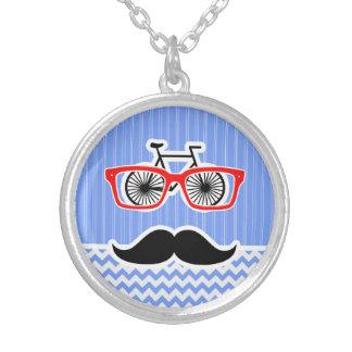 Funny Blue Chevron Hipster Necklaces