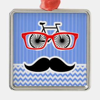 Funny Blue Chevron Hipster Ornament