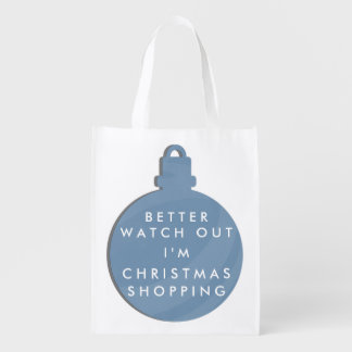 Funny Blue Christmas Bauble Reusable Bag