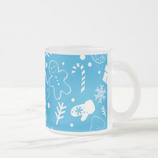 Funny Blue Christmassy Pattern Frosted Glass Coffee Mug