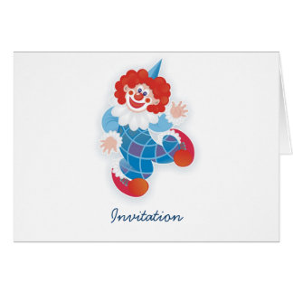 funny blue clown party invitation card
