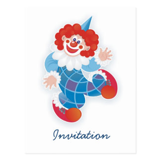 funny blue clown party invitation post cards