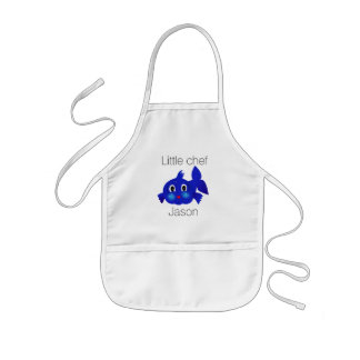 Funny blue fish cartoon kids apron