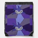 Funny Blue Grinning Shark Drawstring Bags