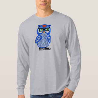 Funny Blue Hipster Owl Mens Gray LS T-shirt