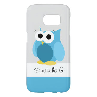 Funny Blue Owl - Personalised Samsung Galaxy S7