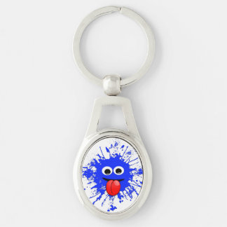 Funny Blue Paint Splat Dude Silver-Colored Oval Metal Keychain