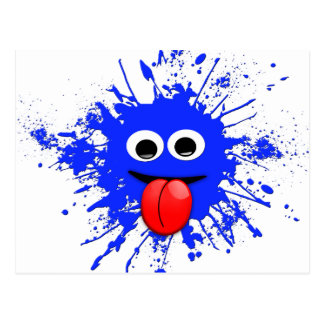 Funny Blue Paint Splat Dude Postcard