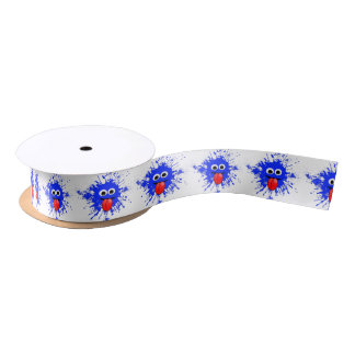 Funny Blue Paint Splat Dude Satin Ribbon