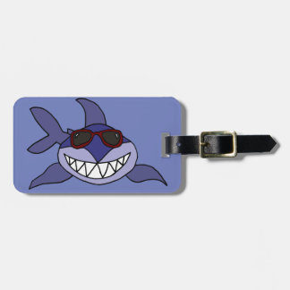 Funny Blue Shark with Sunglasses Luggage Tag