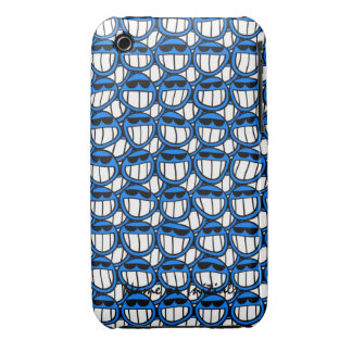 Funny Blue Smiley Faces with Shades iPhone 3 Covers