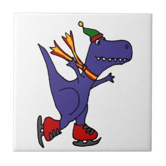 Funny Blue T-Rex Dinosaur Ice Skating Art Small Square Tile