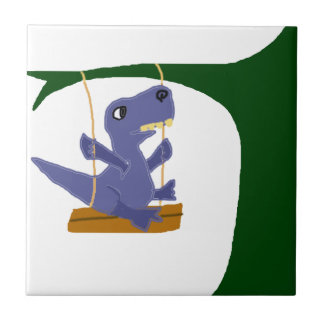 Funny Blue T-Rex Dinosaur on Swing Small Square Tile