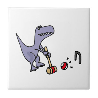 Funny Blue T-Rex Dinosaur Playing Croquet Small Square Tile