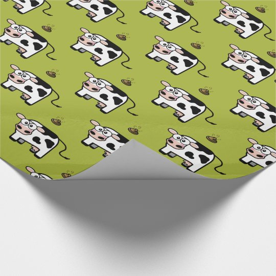 Funny Blushing Pooping Cow Pattern Wrapping Paper