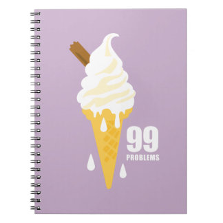 Funny bold summer ice cream graphic illustration notebooks