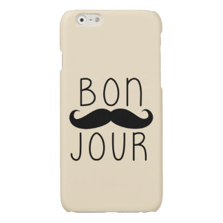 FUNNY BON JOUR MUSTACHE PRINT PHONECASE iPhone 6 PLUS CASE