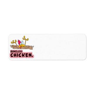 funny boneless chicken cartoon return address label