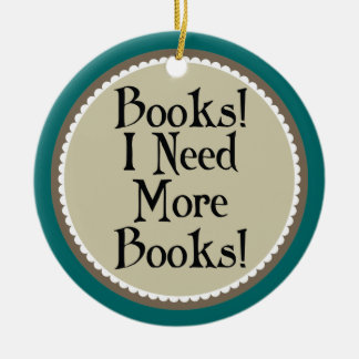 Funny Book Addict Reading Christmas Ornament Gift