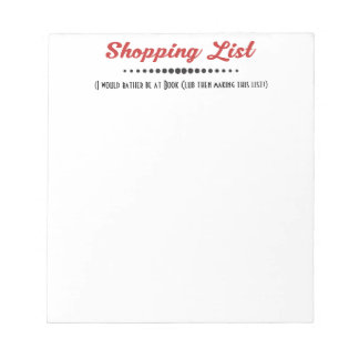 Funny Book Club Group Shopping List Notepad