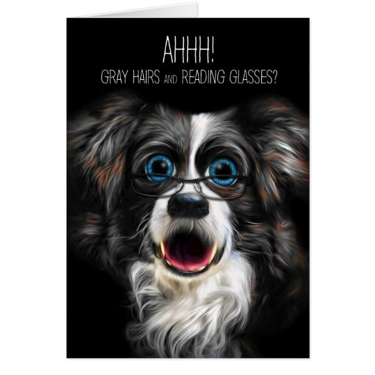 Funny Border Collie Birthday Grey Hair and Glasses