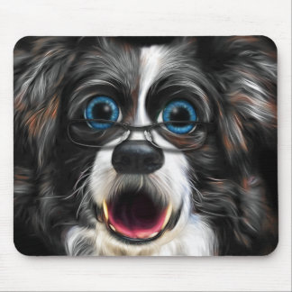 Funny Border Collie in Glasses Painting Mouse Mat