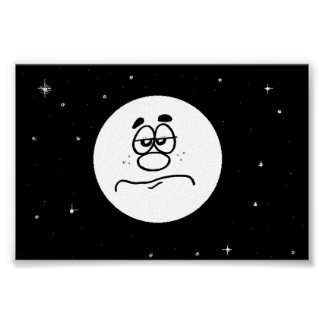 Funny Bored Man in the Moon Poster