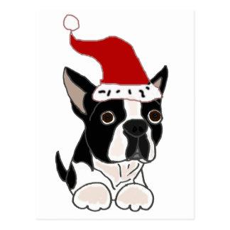 Funny Boston Terrier Christmas Art Postcard
