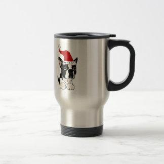 Funny Boston Terrier Christmas Art Stainless Steel Travel Mug