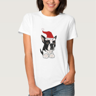Funny Boston Terrier Christmas Art Tshirts