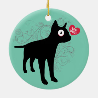 Funny boston terrier dog bow wow love Valentines Christmas Tree Ornament