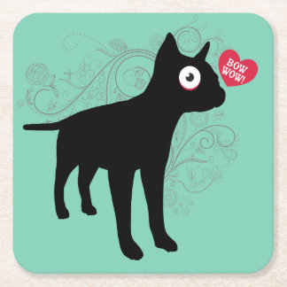 Funny boston terrier dog bow wow love Valentines Square Paper Coaster