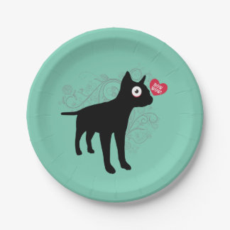 Funny boston terrier dog bow wow love Valentines 7 Inch Paper Plate