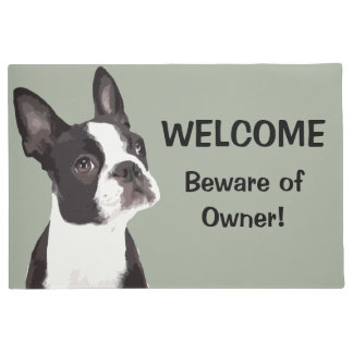 Funny Boston Terrier Welcome Door Mat