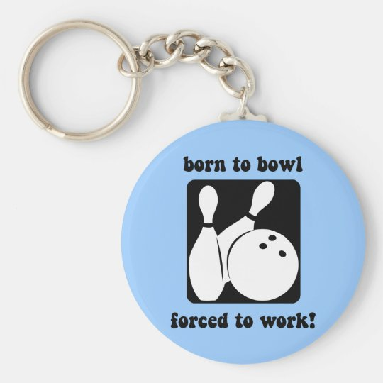 Funny bowling basic round button key ring
