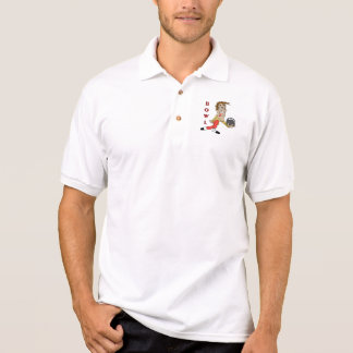 funny bowling man cartoon character polo shirt