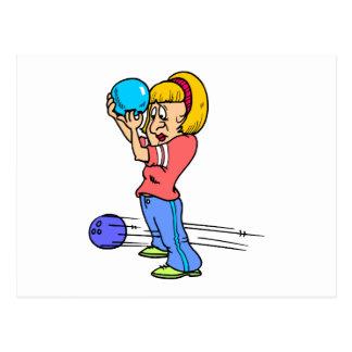 funny bowling mishap cartoon humor graphic postcard