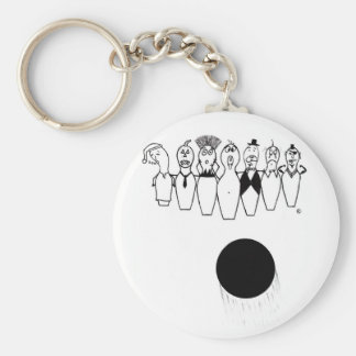 Funny bowling pin characters key ring
