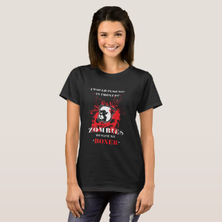Funny Boxer Dog Zombie Design T-Shirt
