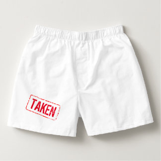 Funny boxer shorts for men with rubber stamp TAKEN Boxers