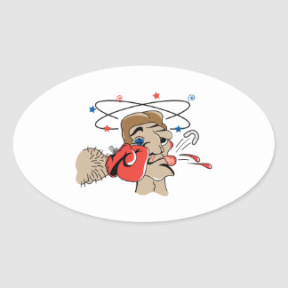 funny boxing cartoon punched in the face oval sticker