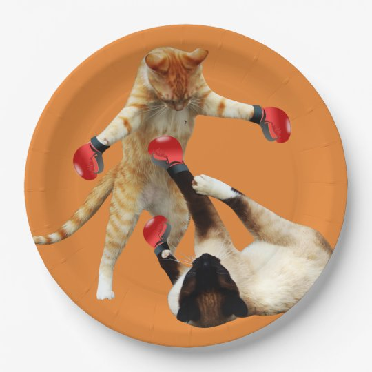 Funny boxing cats paper plate