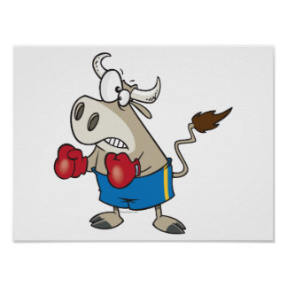 funny boxing fighting bull bullfighter cartoon posters