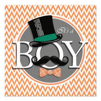 Funny Boy Baby Shower Orange and White Chevron Personalized Invite
