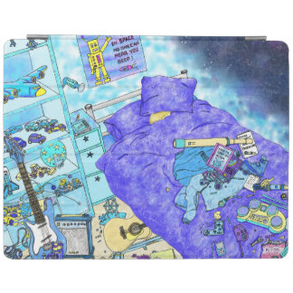 Funny Boys Bedroom Mess Blue Art Design from Above iPad Cover