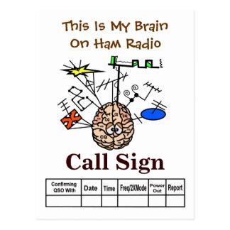 Funny Brain on Ham Radio QSL Card Postcard
