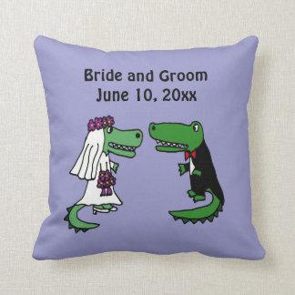 Funny Bride and Groom Alligator Wedding Art Throw Pillow