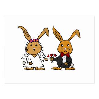 Funny Bride and Groom Brown Rabbit Wedding Cartoon Postcard