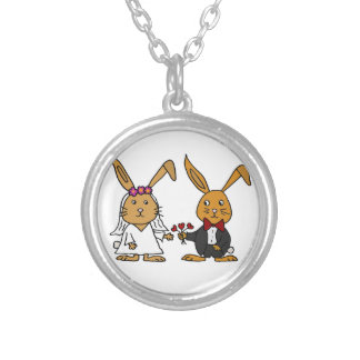 Funny Bride and Groom Brown Rabbit Wedding Cartoon Silver Plated Necklace