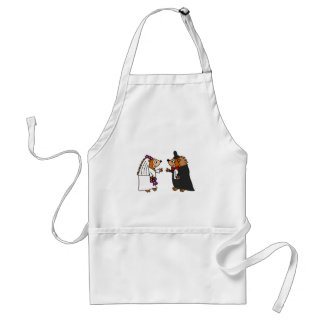 Funny Bride and Groom Hedgehog Wedding Art Apron